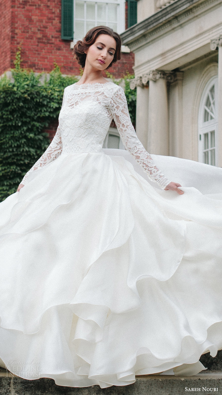 sareh nouri bridal fall 2016 long sleeves sweetheart illusion jewel neck a line ball gown wedding dress (mona lisa) fv elegant romantic