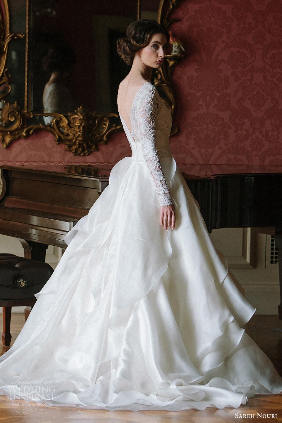 sareh nouri bridal fall 2016 long sleeves sweetheart illusion jewel neck a line ball gown wedding dress (mona lisa) sv  vback train elegant romantic
