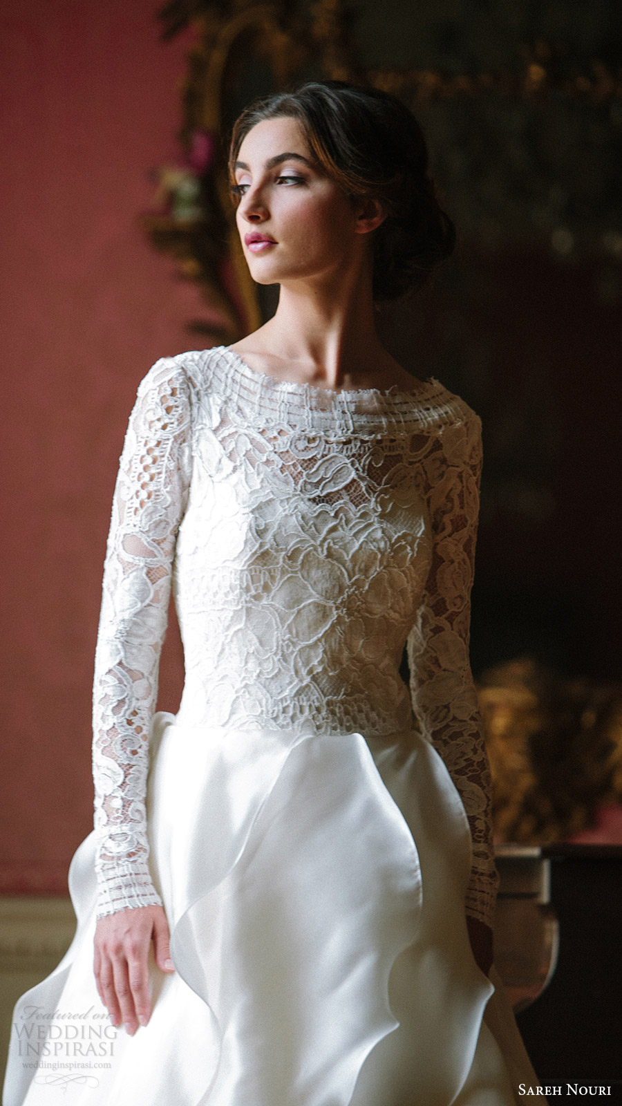 sareh nouri bridal fall 2016 long sleeves sweetheart illusion jewel neck a line ball gown wedding dress (mona lisa) zv  vback train elegant romantic