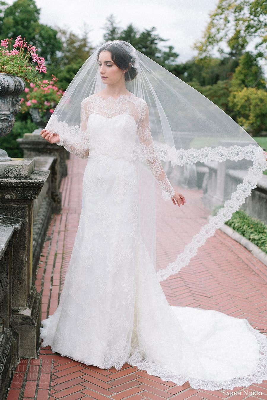 sareh nouri bridal fall 2016 long sleeves sweetheart illusion jewel neck lace wedding dress (miriam) fv veil train elegant romantic