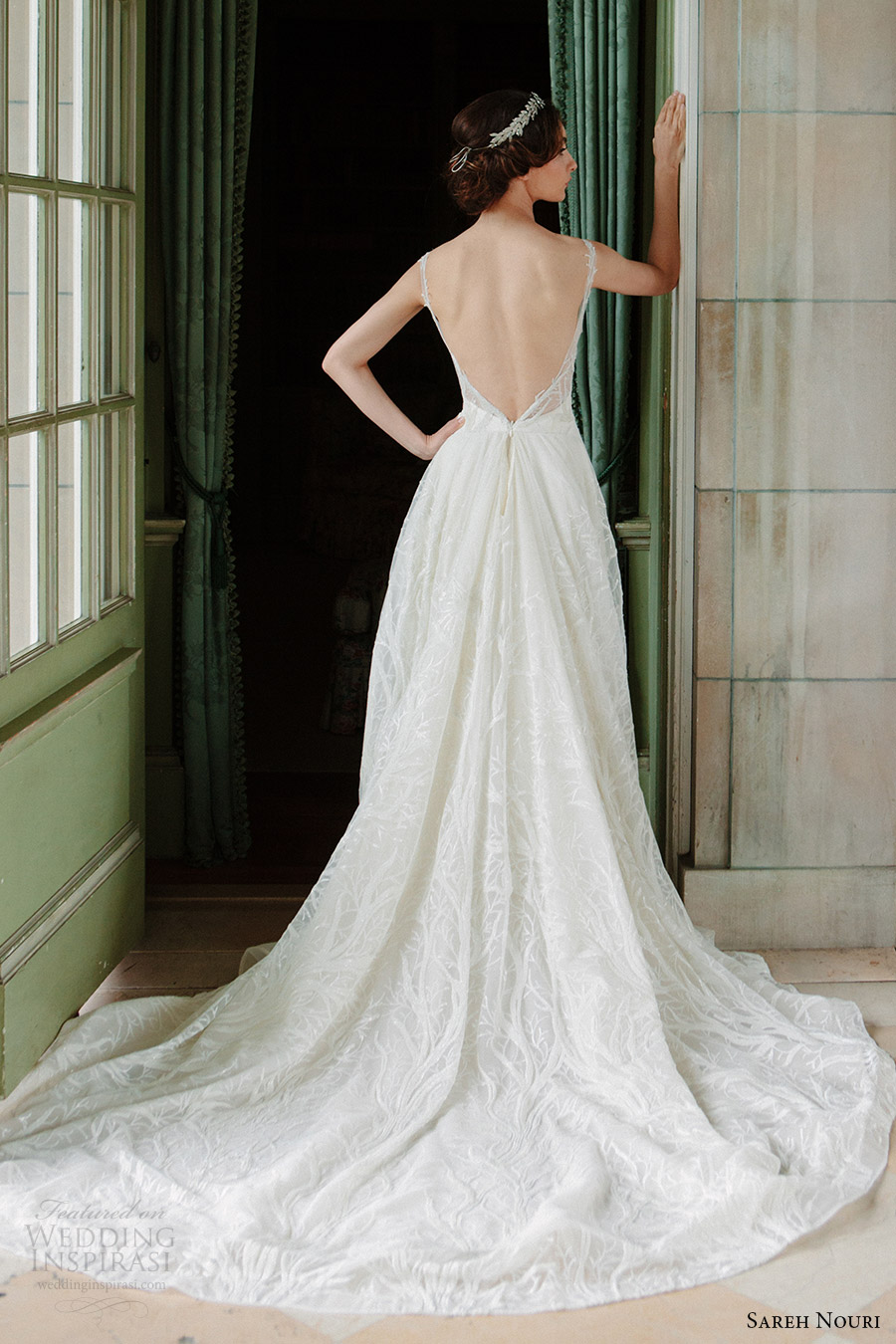 sareh nouri bridal fall 2016 sleeveless sweetheart illusion scoop neck lace wedding dress (shiraz) bv plunging back train elegant