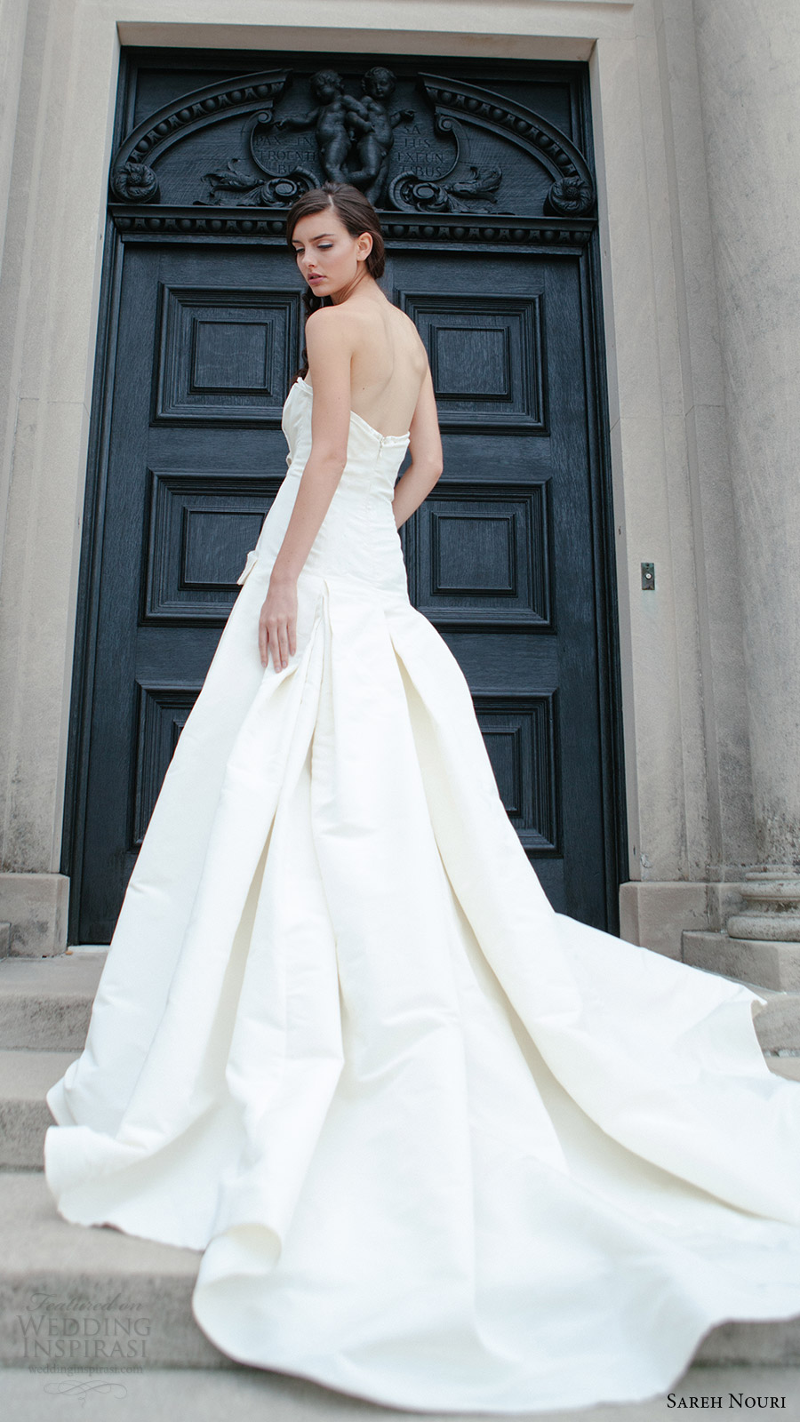 sareh nouri bridal fall 2016 strapless straight across a line wedding dress (tara) bv slit skirt pocket edgy
