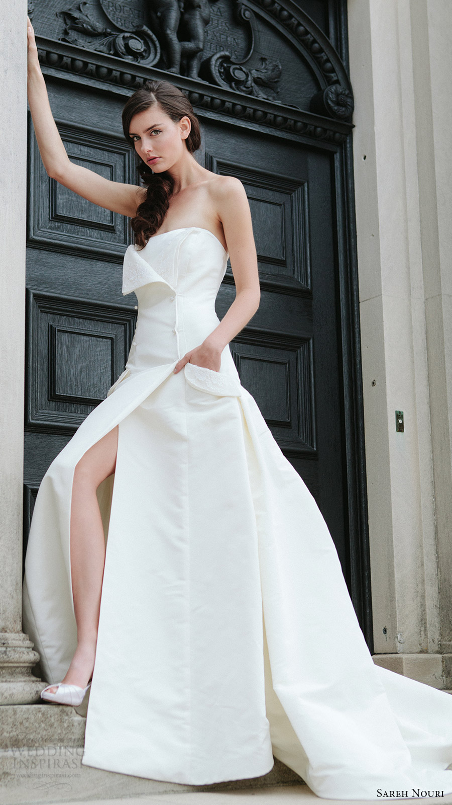 sareh nouri bridal fall 2016 strapless straight across a line wedding dress (tara) fv slit skirt pocket edgy