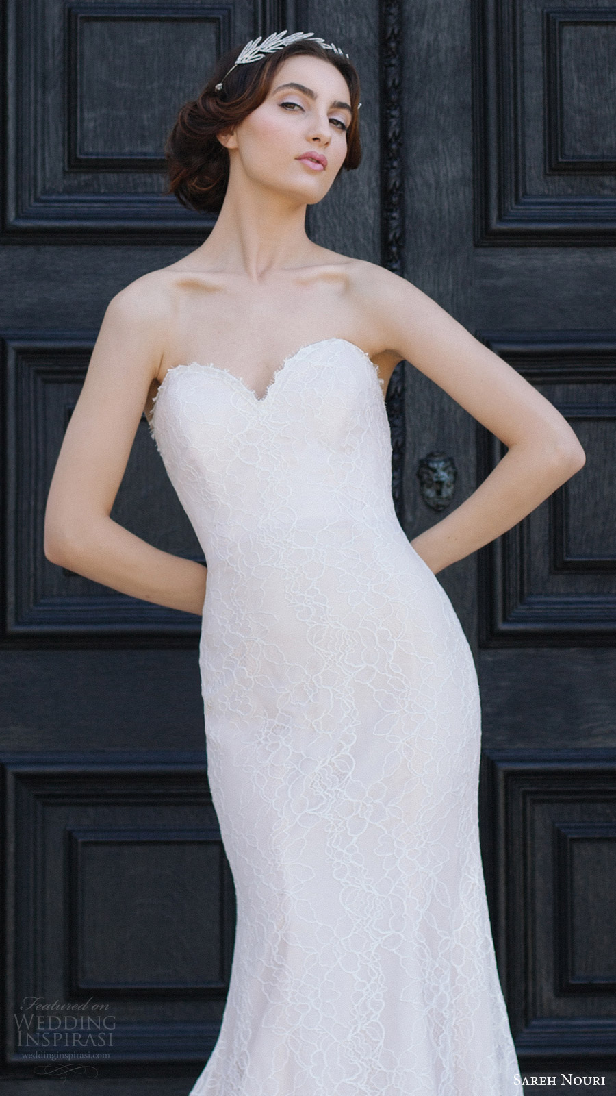 sareh nouri bridal fall 2016 strapless sweetheart trumpet sheath wedding dress (ava) zv train romantic elegant