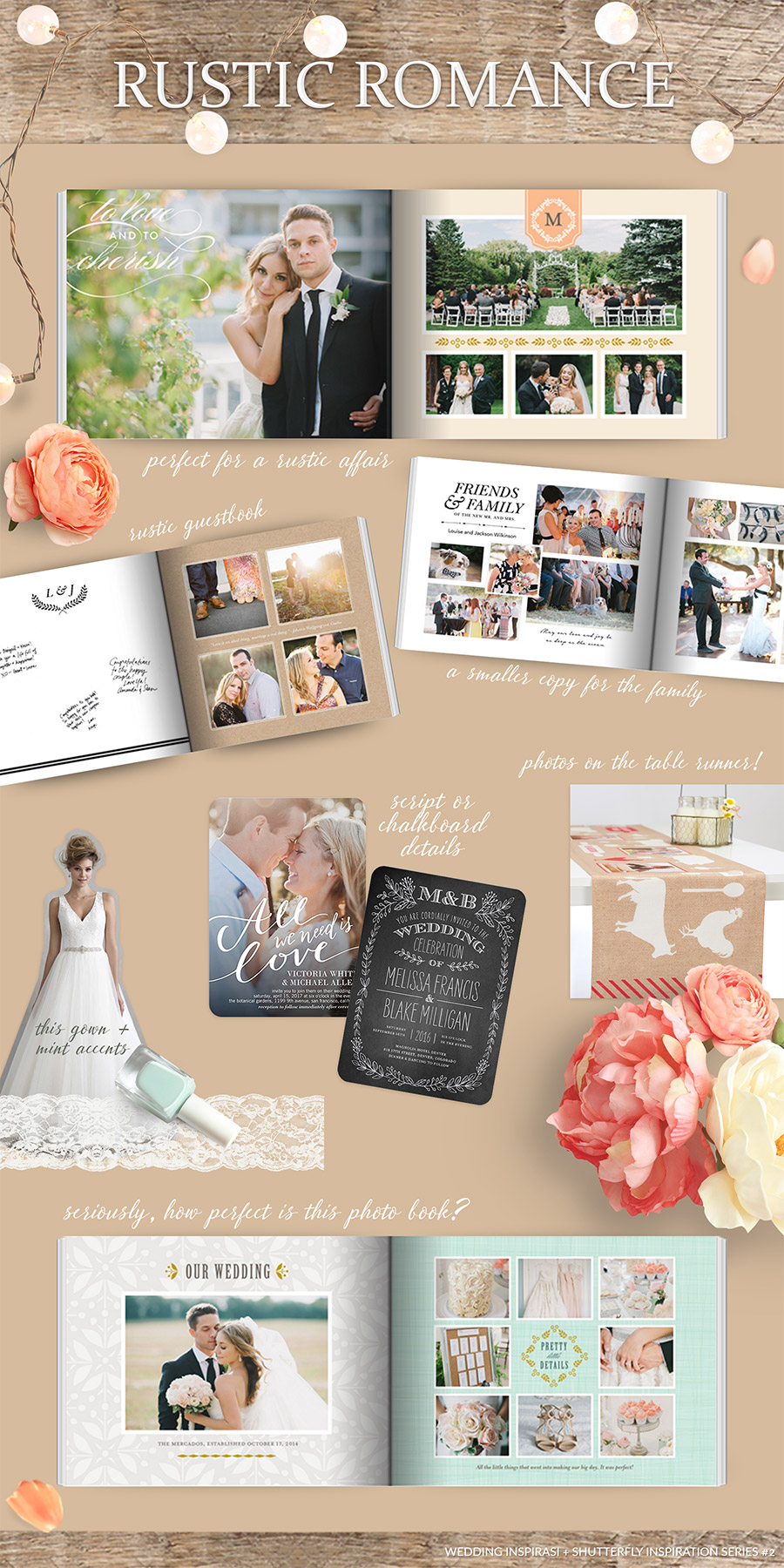 Shutterfly Wedding Al Photobook Rustic Romance Bridal Inspiration Outdoor Board Photo Book Guestbook Chalkboard Mint
