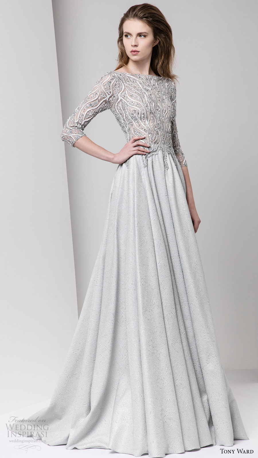 tony ward fall 2016 rtw 3 quarter sleeves bateau neck a line evening dress grey gray embellished bodice