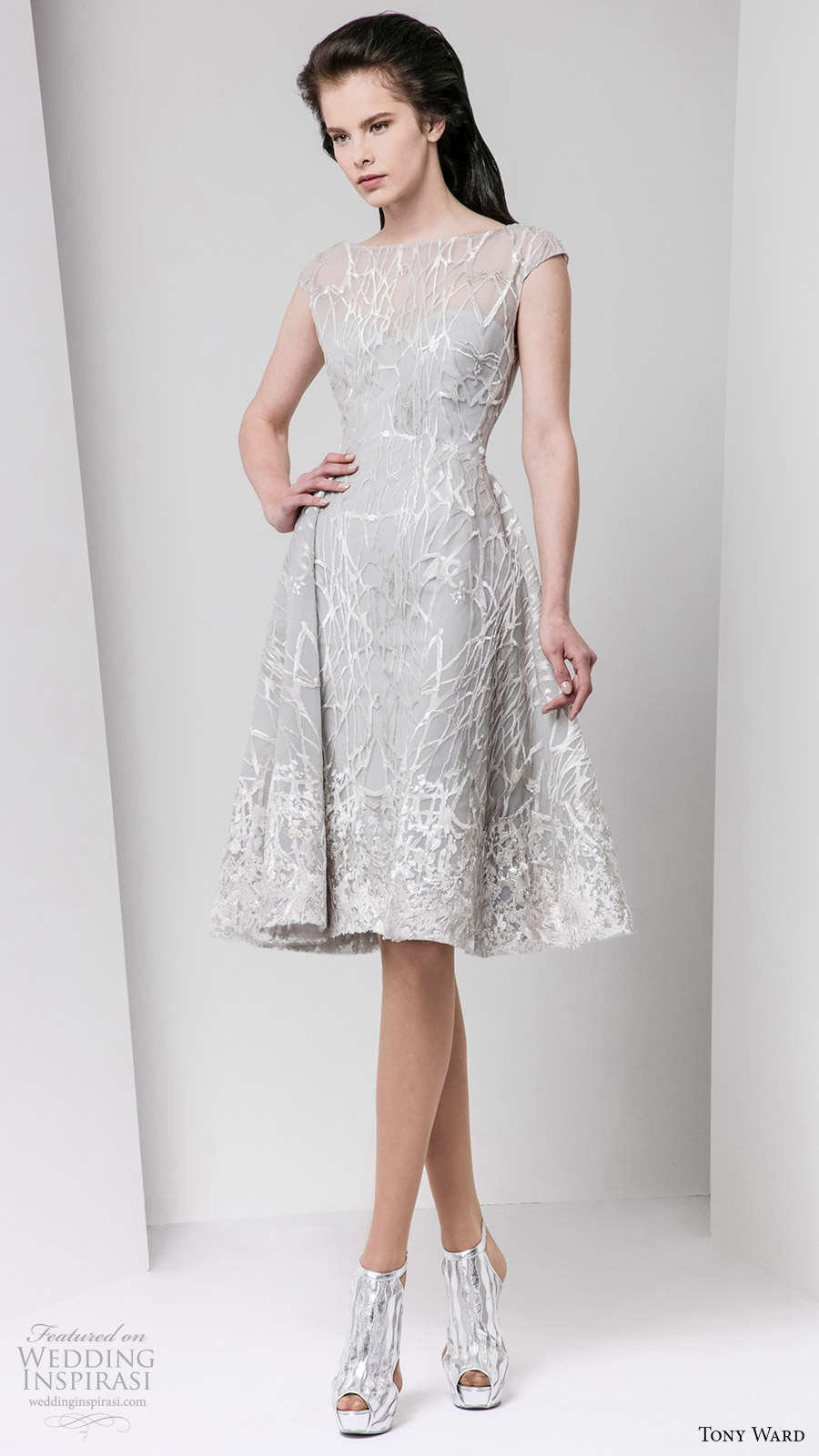 tony ward fall 2016 rtw cap sleeve bateau neck short evening dress gray wedding inspiration