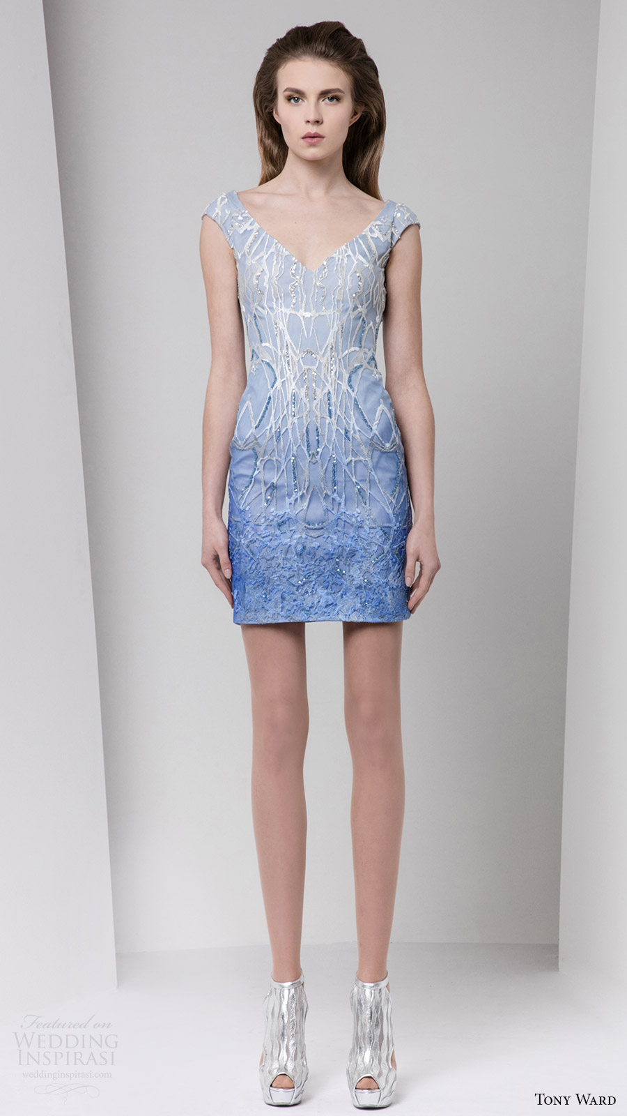 tony ward fall 2016 rtw cap sleeves jewel neck embellished short dress light blue ombre