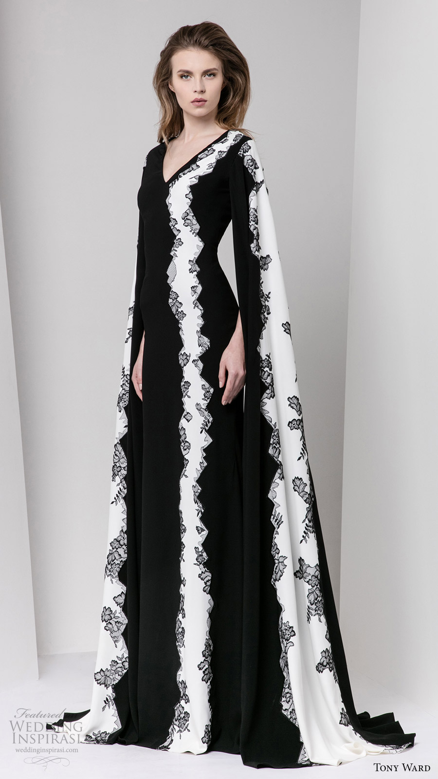 tony ward fall 2016 rtw long sleeves v neck black white evening dress