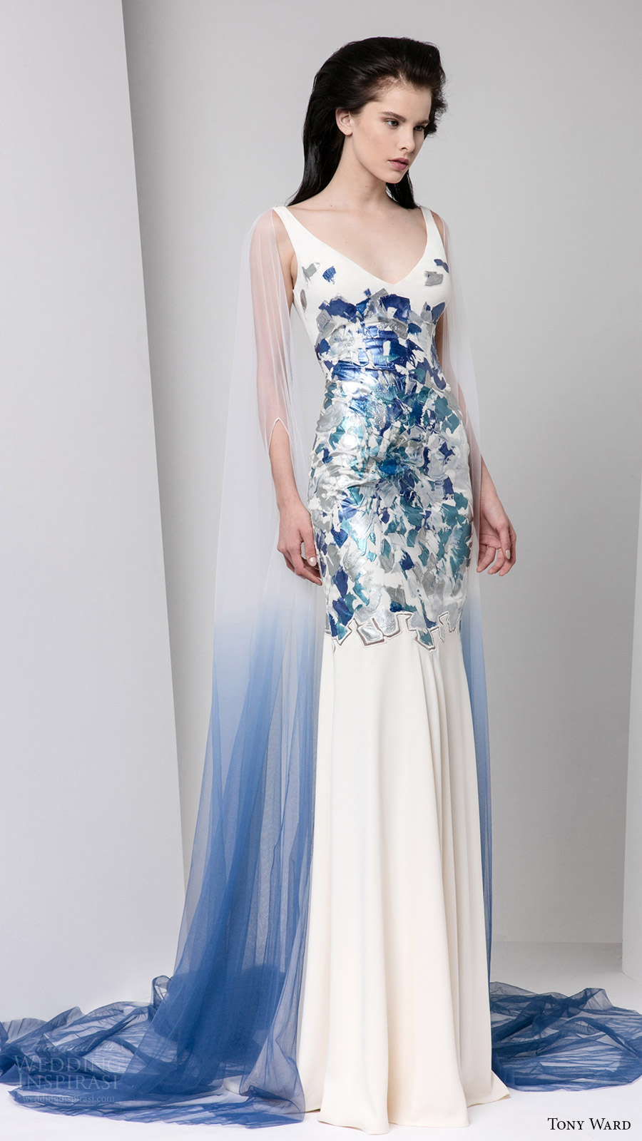 tony ward fall 2016 rtw sleeveless v neck thick straps evening gown illusion ombre cape