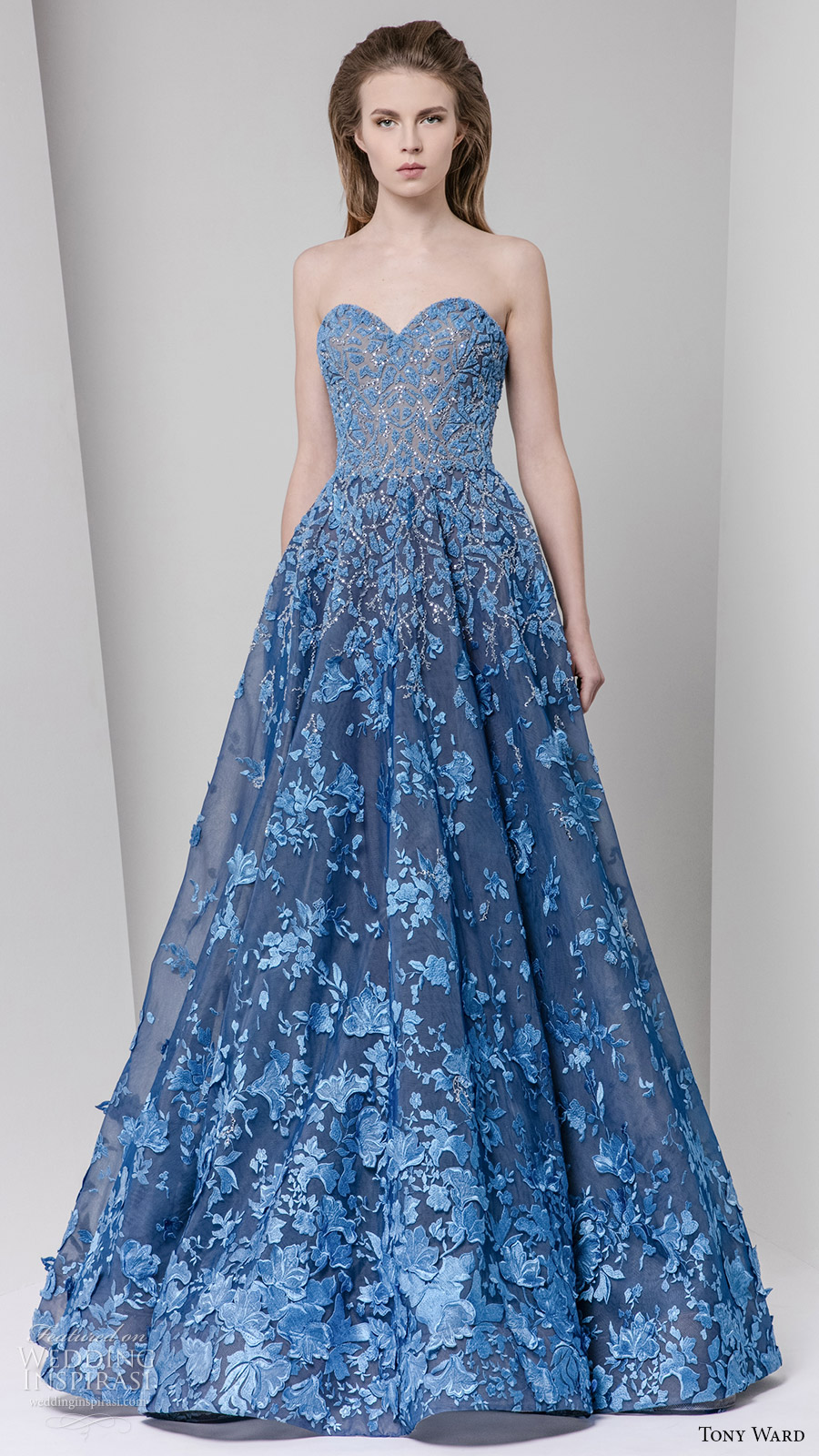 tony ward fall 2016 rtw strapless sweetheart a line gown blue embellished
