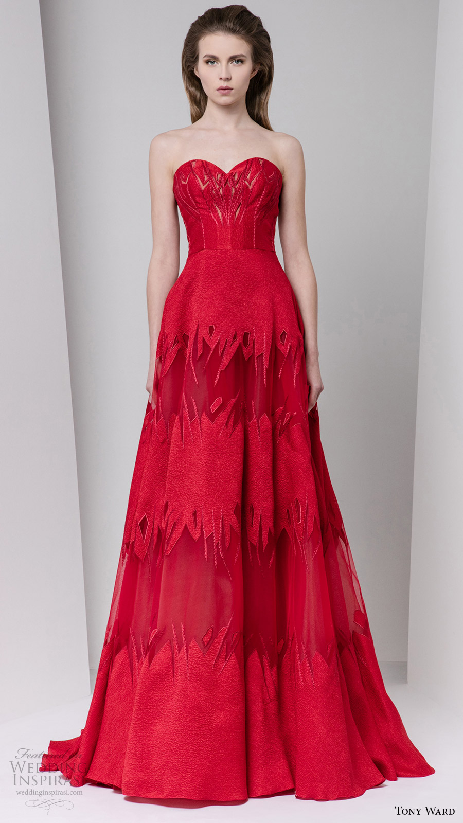 tony ward fall 2016 rtw strapless sweetheart a line red evening gown bridal inspiration