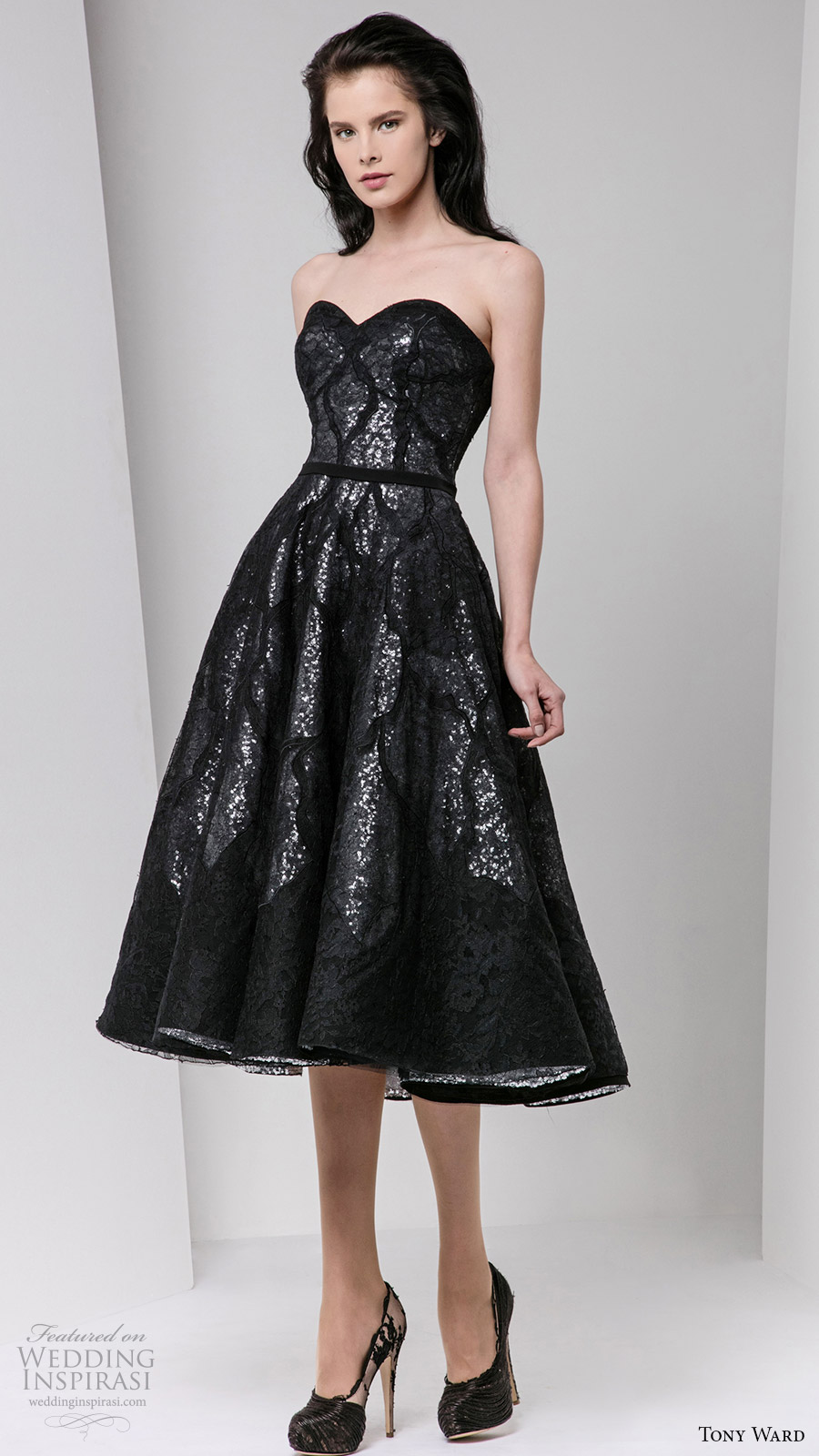 tony ward fall 2016 rtw strapless sweetheart a line short dress sequin black