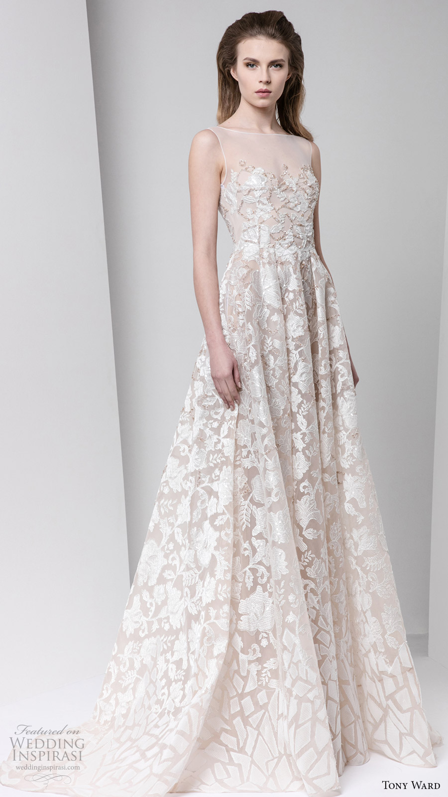 tony ward fall winter 2016 2017 rtw sleeveless illusion bateau neck a line off white evening dress bridal inspiration