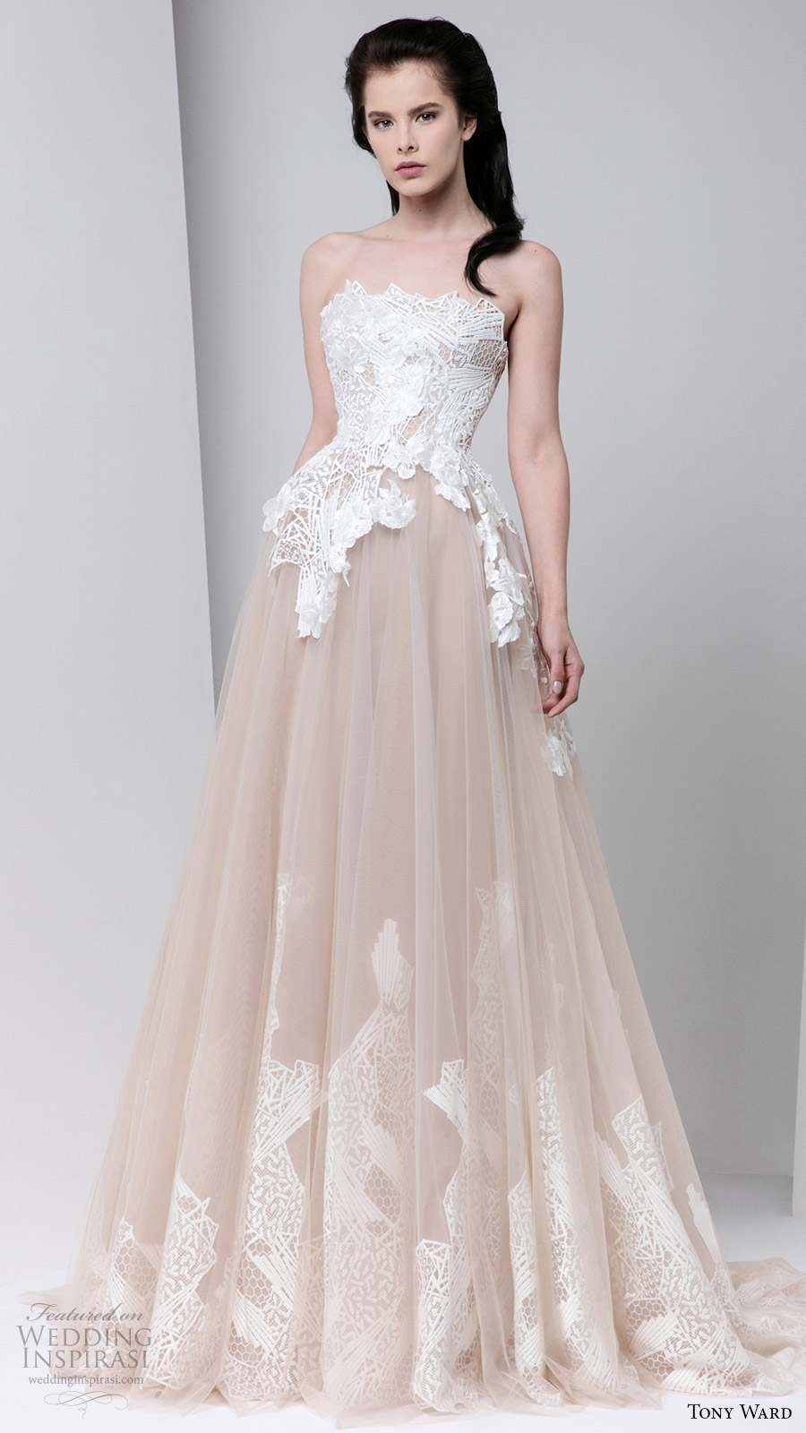 tony ward fall winter 2016 2017 rtw strapless ball gown off white evening dress wedding inspiration