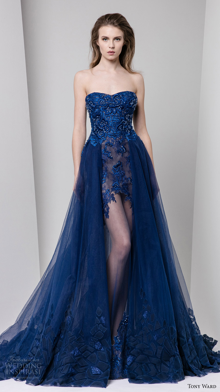 tony ward fall winter 2016 2017 rtw strapless semi sweetheart embellished bodice a line evening dress illusion skirt overskirt blue color