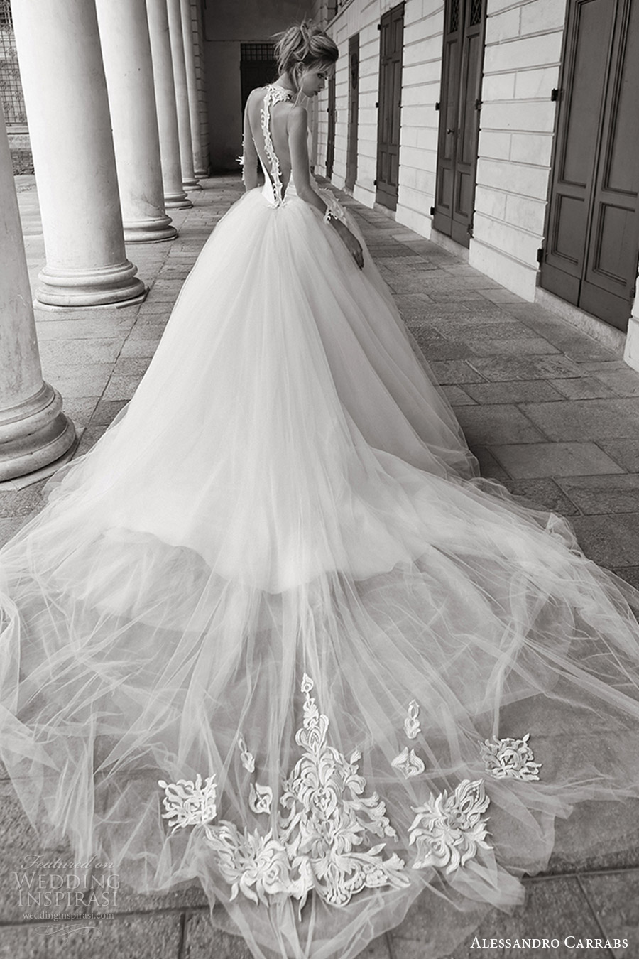 Alessandro carrabs 2016 wedding dresses palcoscenico for Ball gown wedding dresses with long trains