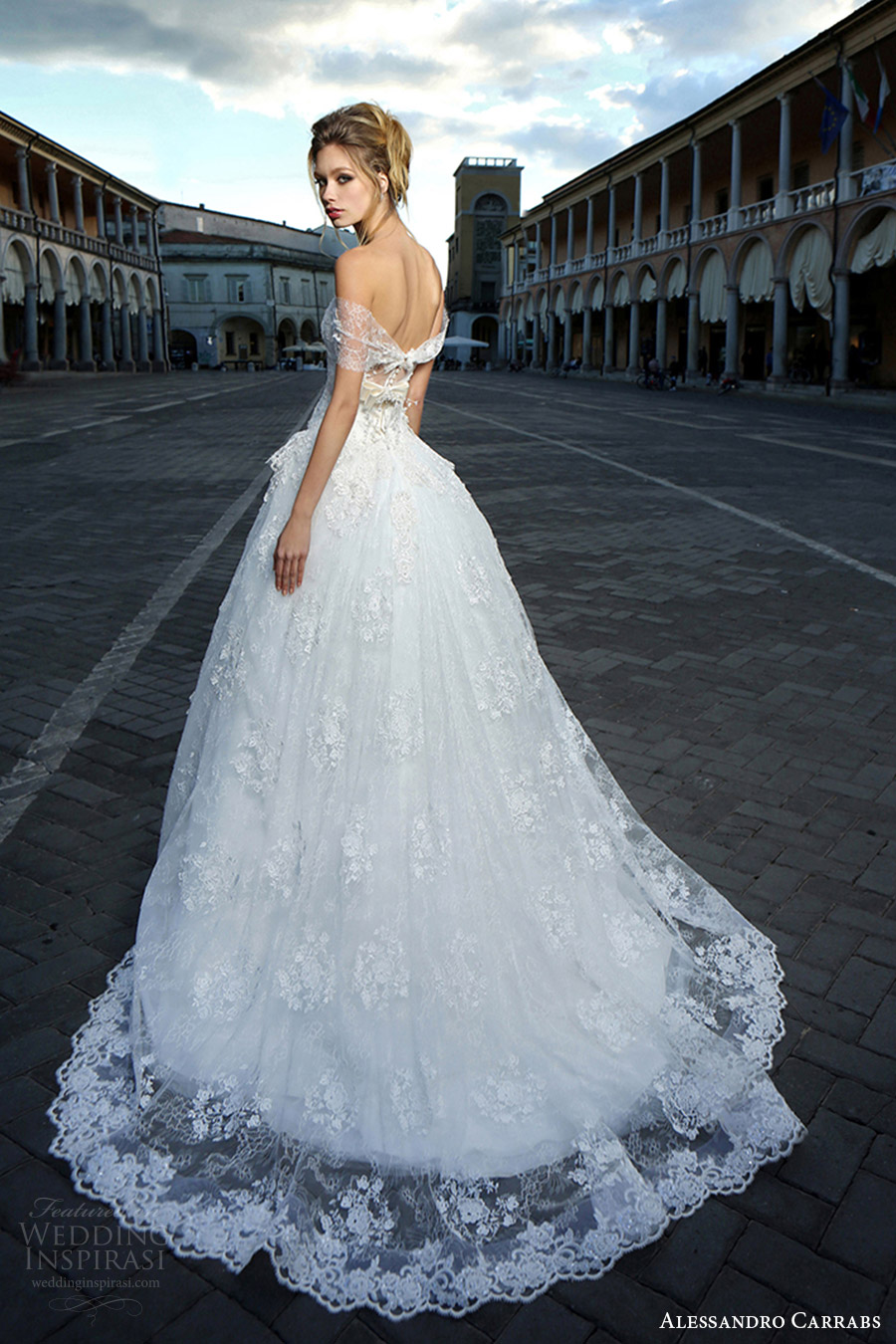 alessandro carrabs couture bridal 2016 off shoulder straight across lace drop waist ball gown wedding dress (004) bv train