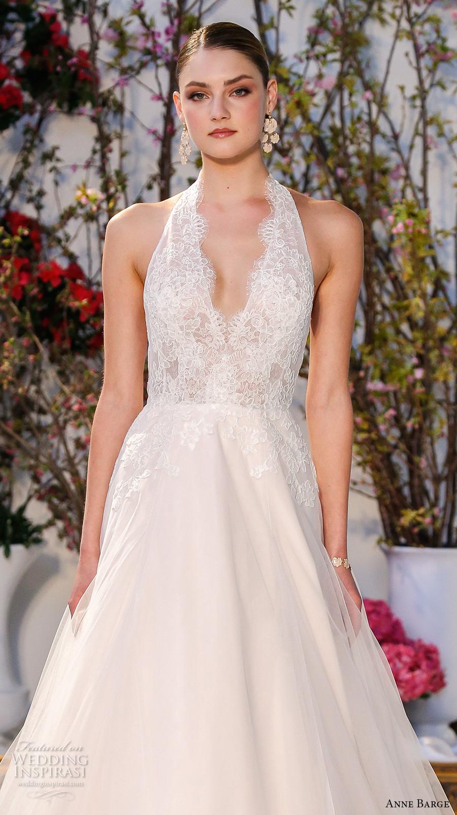 Lace Halter Wedding Dress 19 Simple anne barge spring bridal