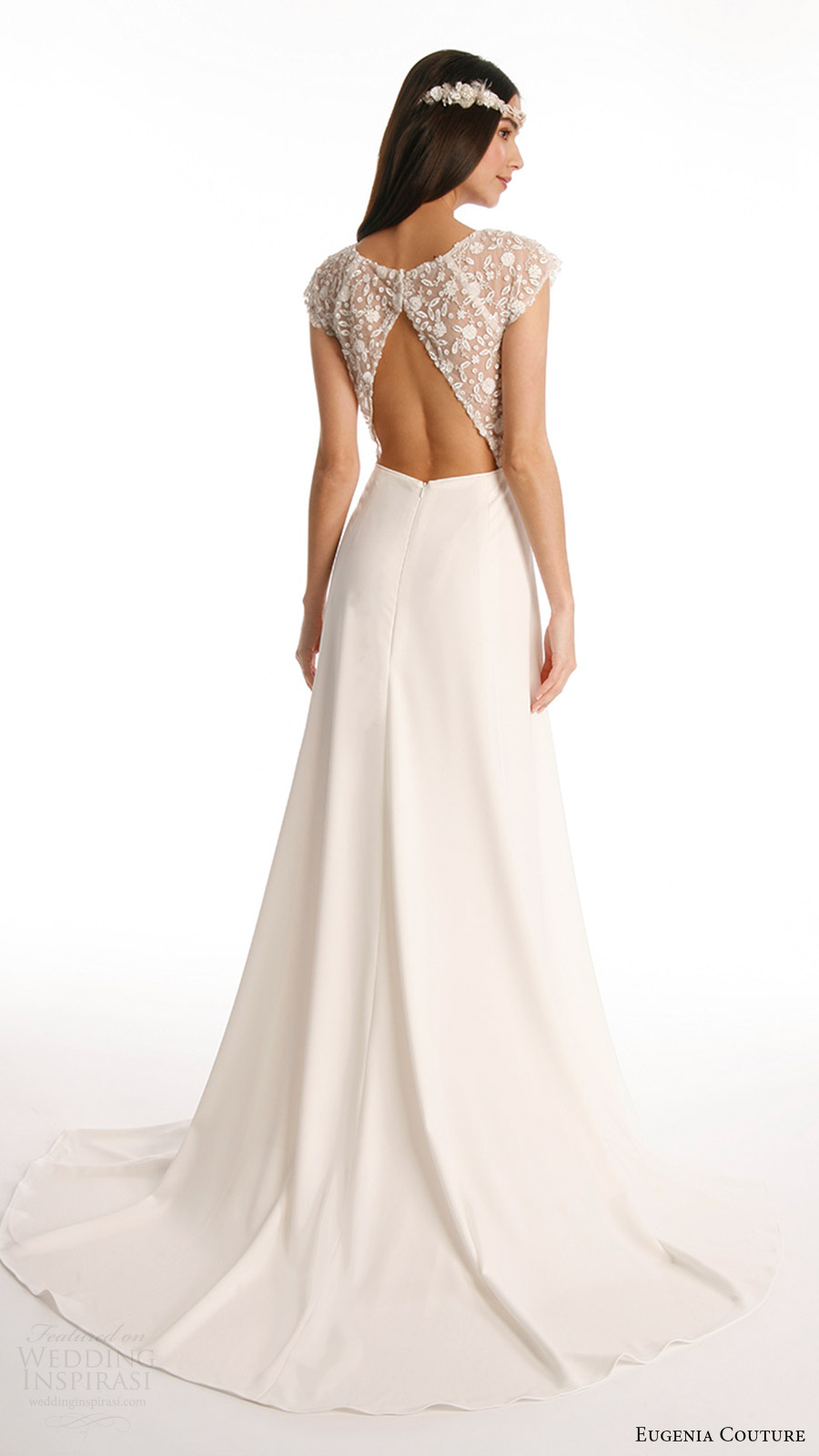 eugenia couture joy bridal spring 2017 beaded cap sleeves vneck crepe aline wedding dress (vanessa) bv slit skirt keyhole back train