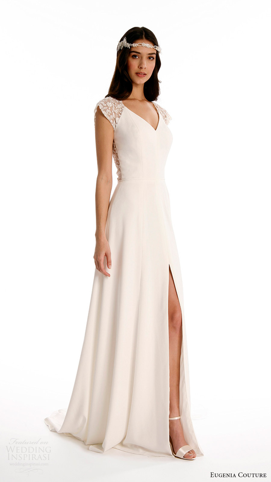 eugenia couture joy bridal spring 2017 beaded cap sleeves vneck crepe aline wedding dress (vanessa) mv slit skirt