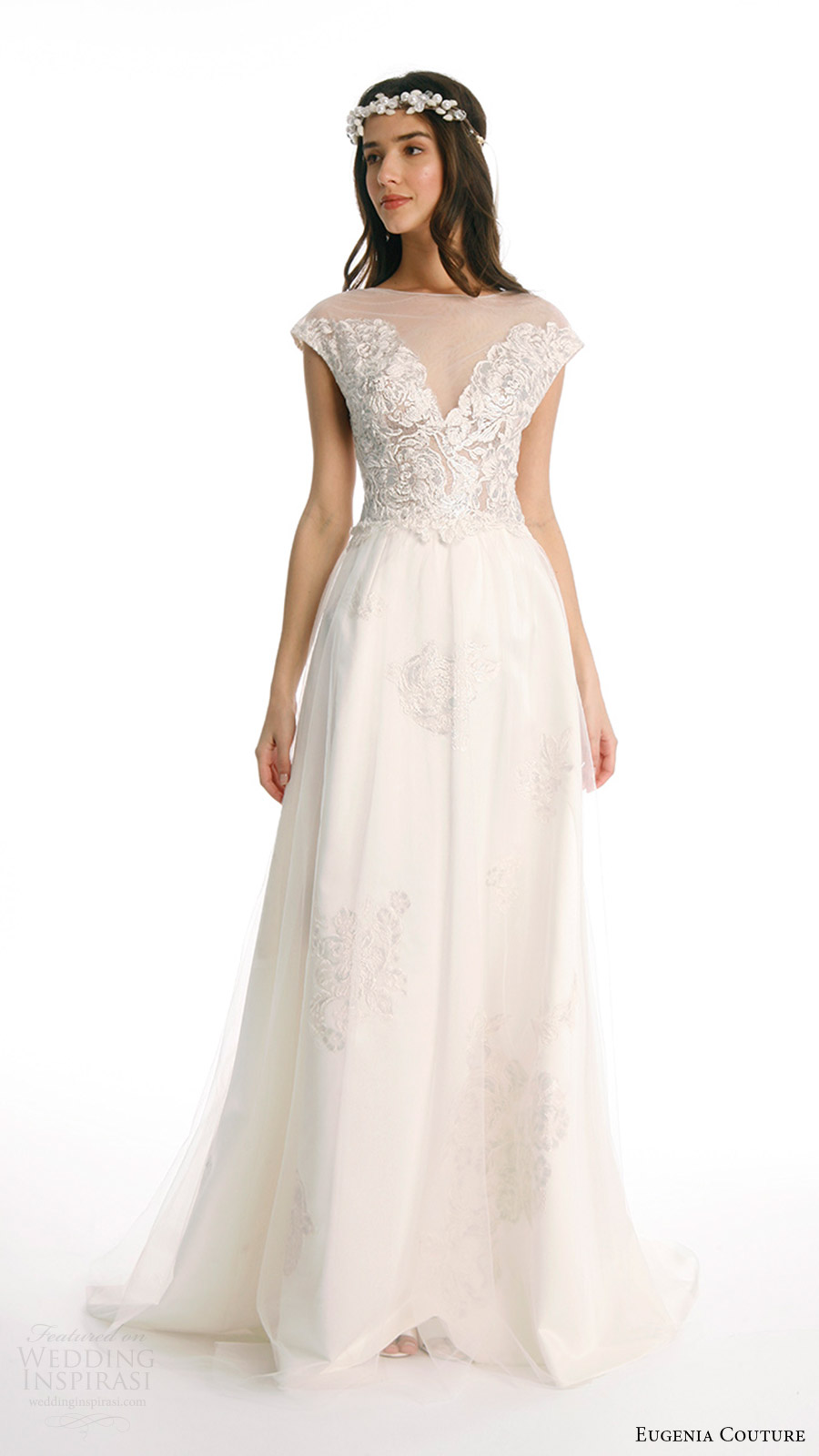 eugenia couture joy bridal spring 2017 cap sleeves illusion jewel neck painted lace aline wedding dress (sylvie anne) mv