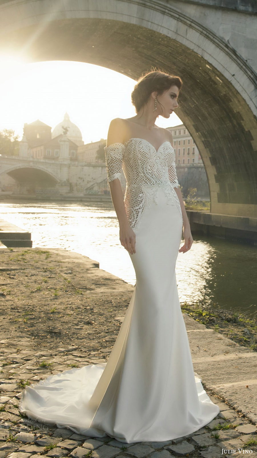julie vino bridal spring 2017 half sleeves off shoulder sweetheart trumpet (cassia) mv train