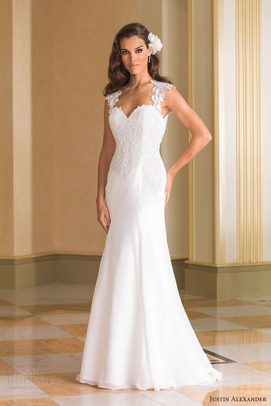 justin alexander bridal fall 2016 cap sleeves cap sleeves queen anne neckline fit flare wedding dress (8867) mv