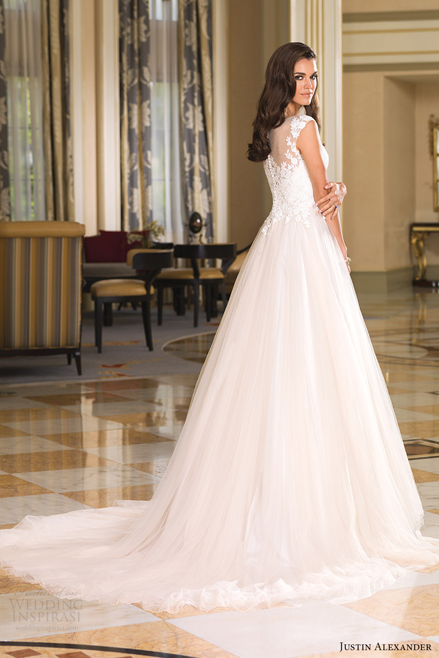 justin alexander bridal fall 2016 cap sleeves illusion bateau neck ball gown wedding dress (8852) sv train romantic