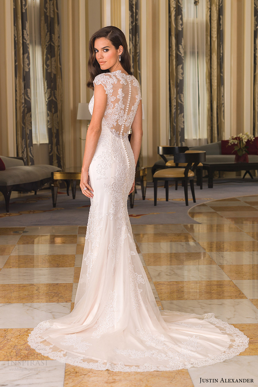 justin alexander bridal fall 2016 cap sleeves queen anne neckline sheath wedding dress (8860) bv sheer back train
