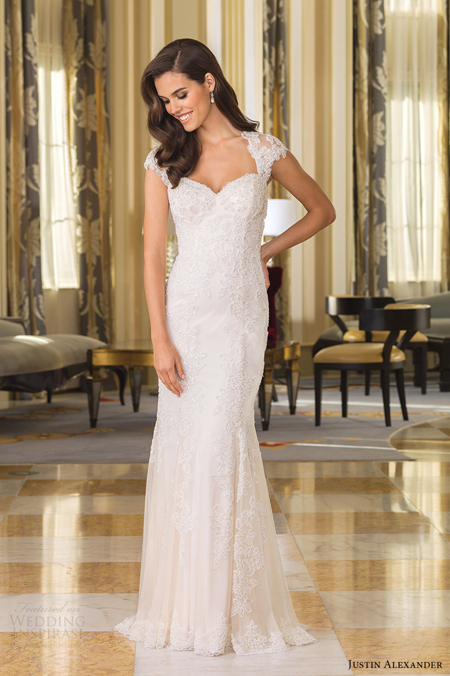 justin alexander bridal fall 2016 cap sleeves queen anne neckline sheath wedding dress (8860) mv