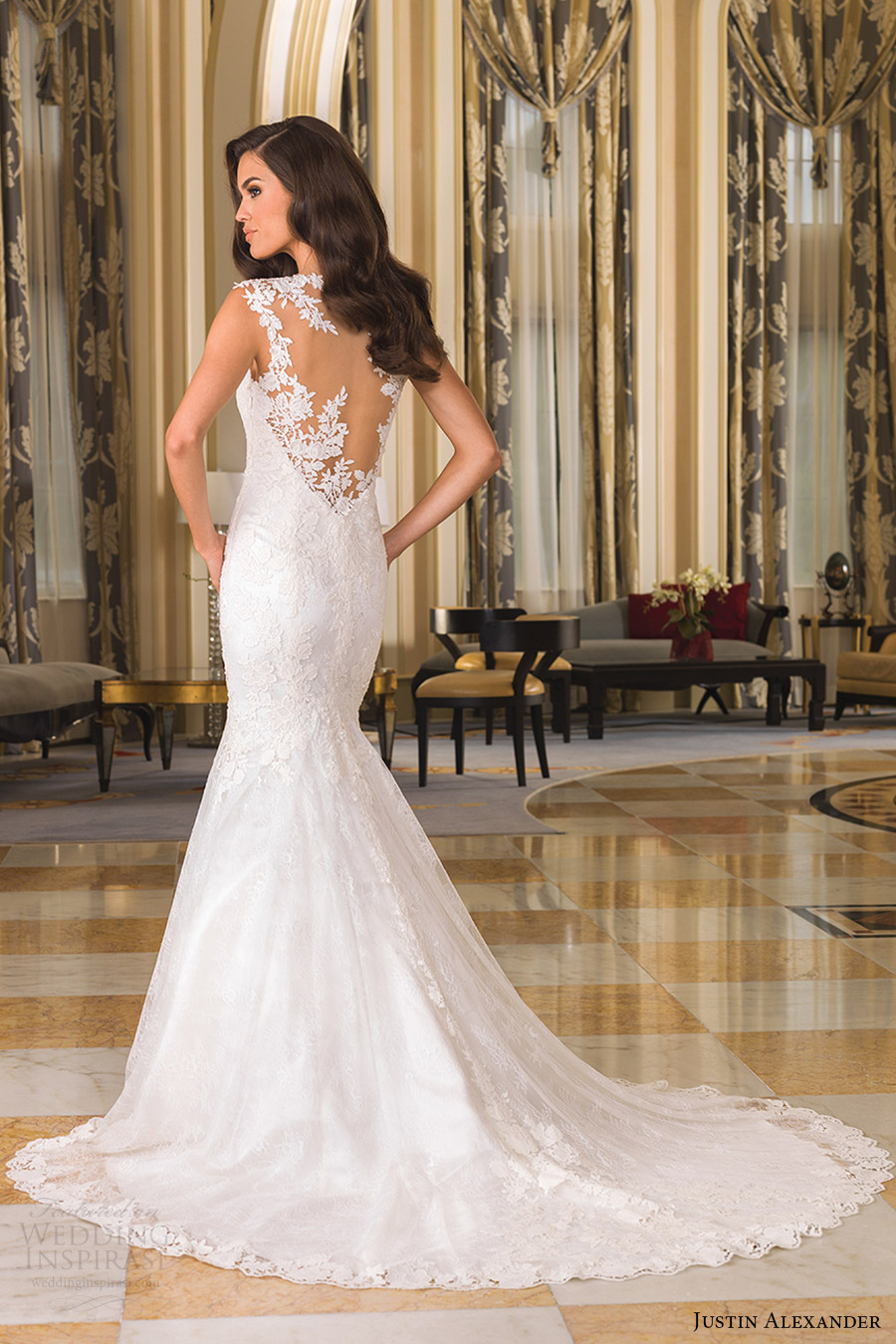Justin Alexander Bridal Fall 2016 Cap Sleeves Vneck Fit Flare Chantilly Lace Wedding Dress 8858