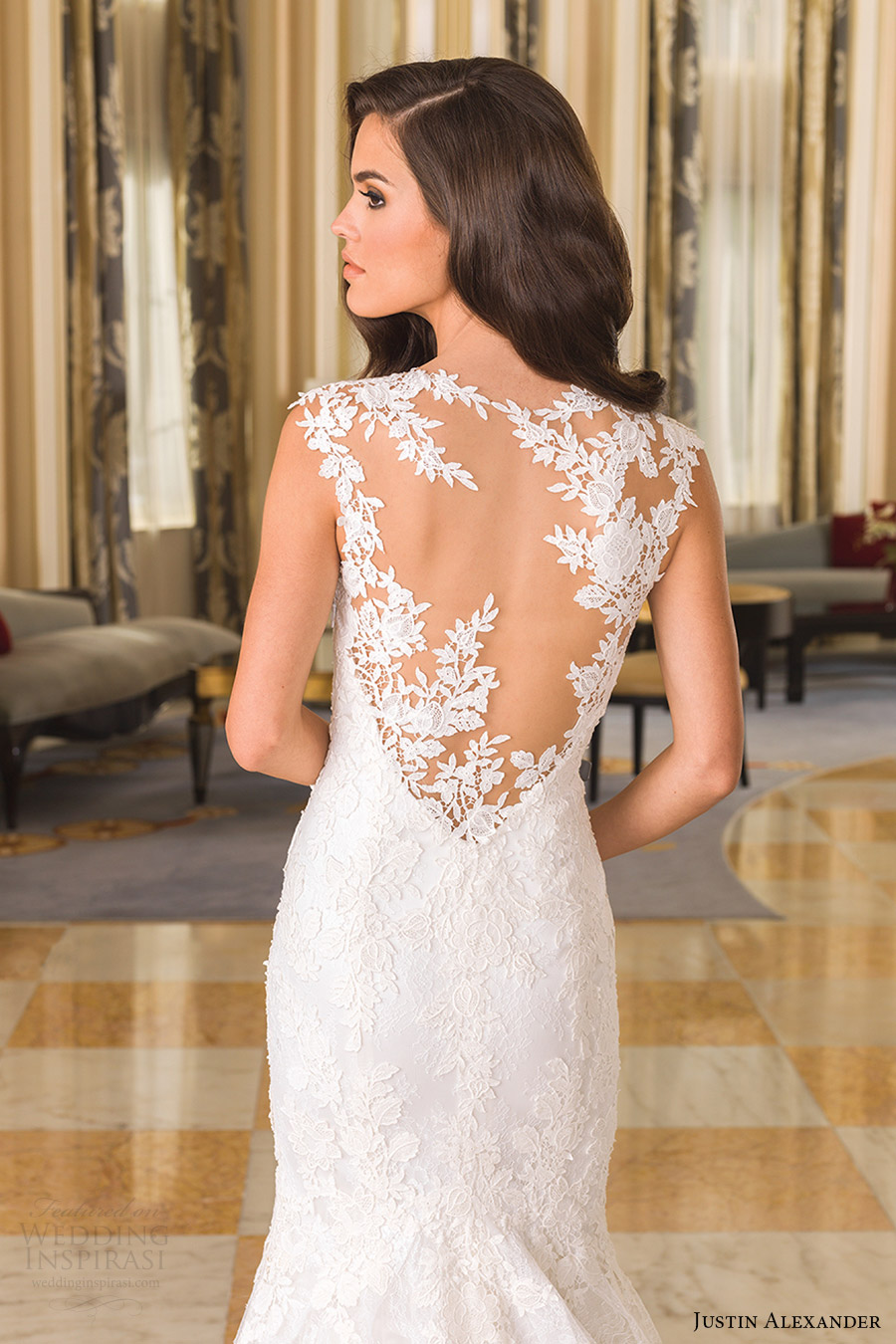 justin alexander bridal fall 2016 cap sleeves vneck fit flare chantilly lace wedding dress (8858) zbv sheer back train
