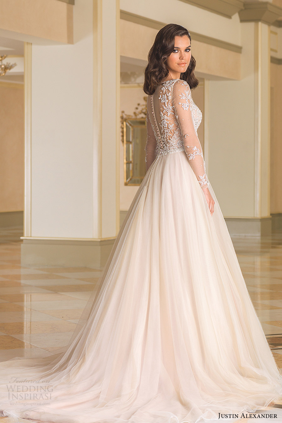 justin alexander bridal fall 2016 illusion long sleeves bateau neck ball gown wedding dress (8873) bv nude color beaded bodice sheer back train