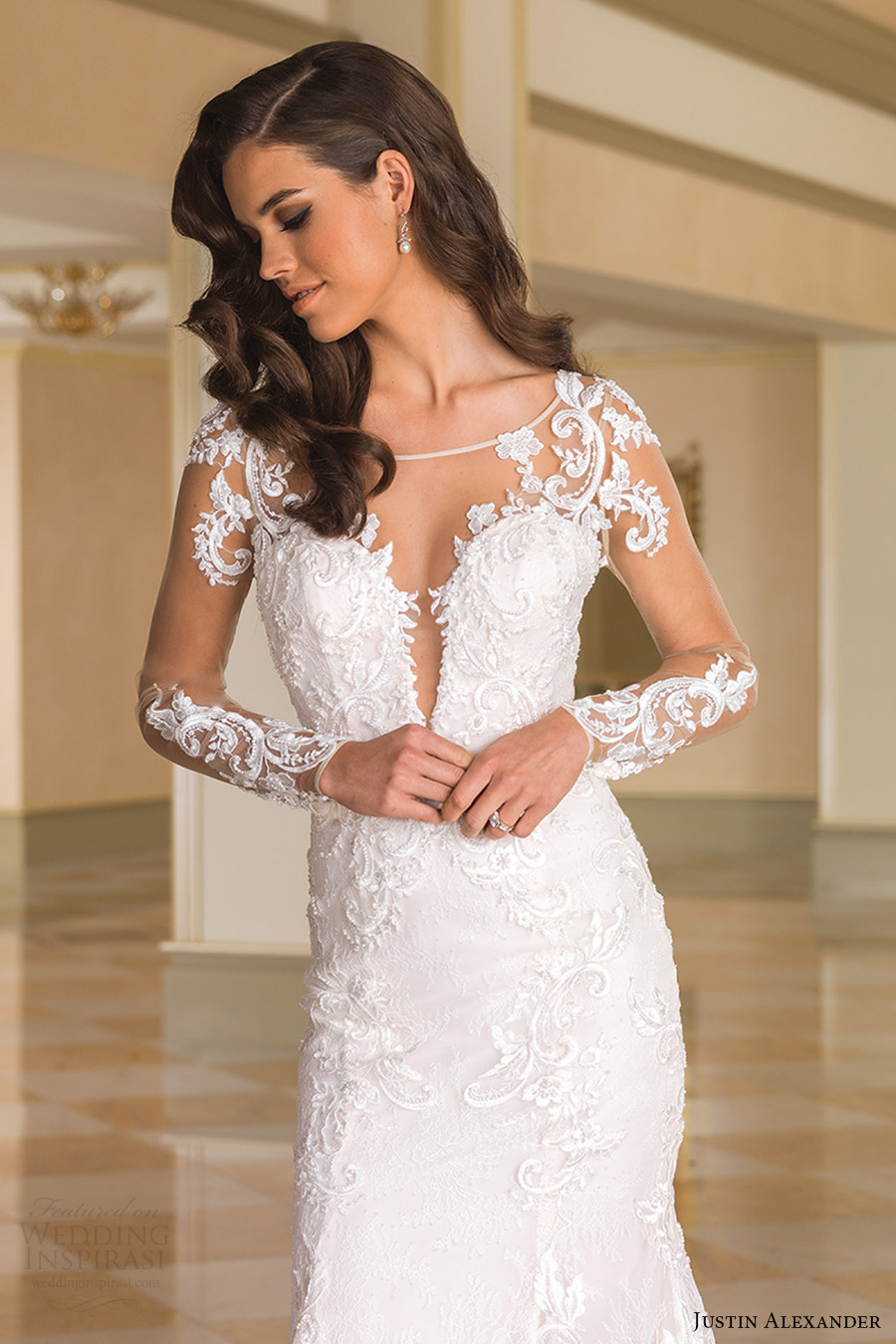 justin alexander bridal fall 2016 illusion long sleeves sabrina neck split sweetheart trumpet wedding dress (8870) zv