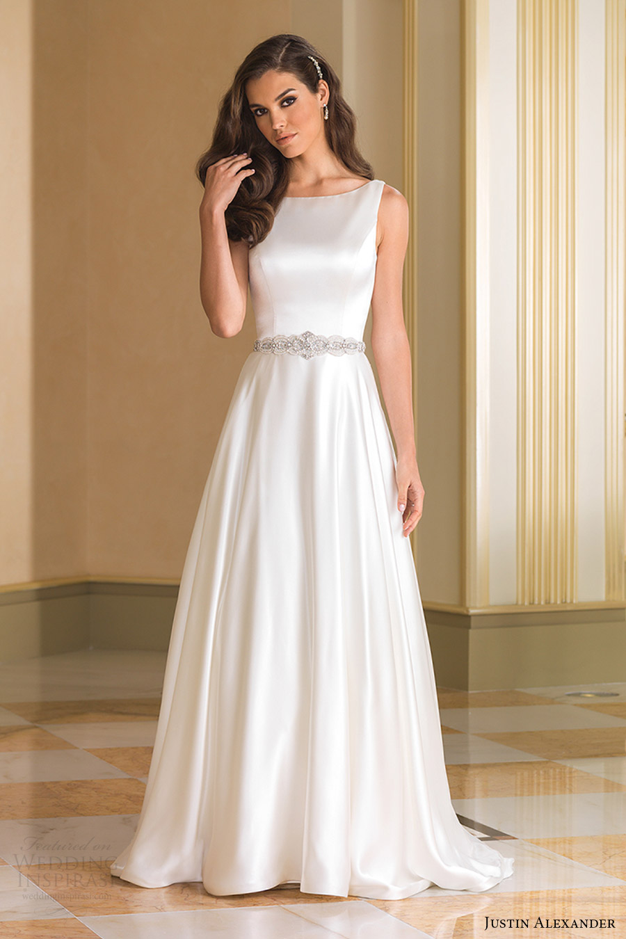justin alexander bridal fall 2016 sleeveless bateau neck aline wedding dress (8866) mv