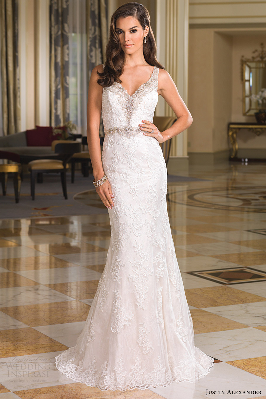 justin alexander bridal fall 2016 sleeveless beaded straps trumpet wedding dress (8853) mv elegant