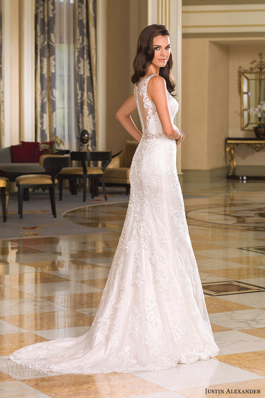 justin alexander bridal fall 2016 sleeveless beaded straps trumpet wedding dress (8853) sv train elegant