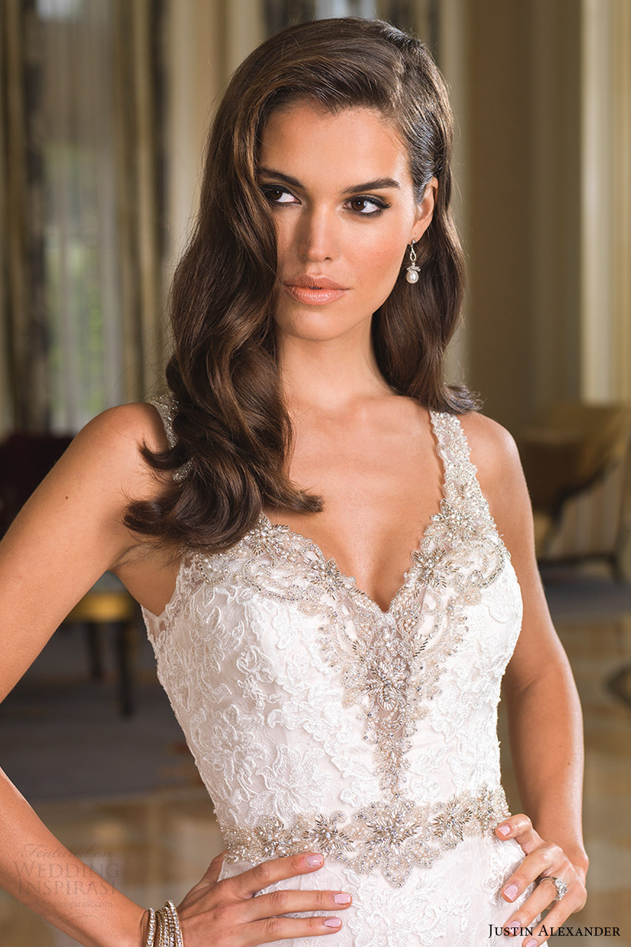 justin alexander bridal fall 2016 sleeveless beaded straps trumpet wedding dress (8853) zv elegant