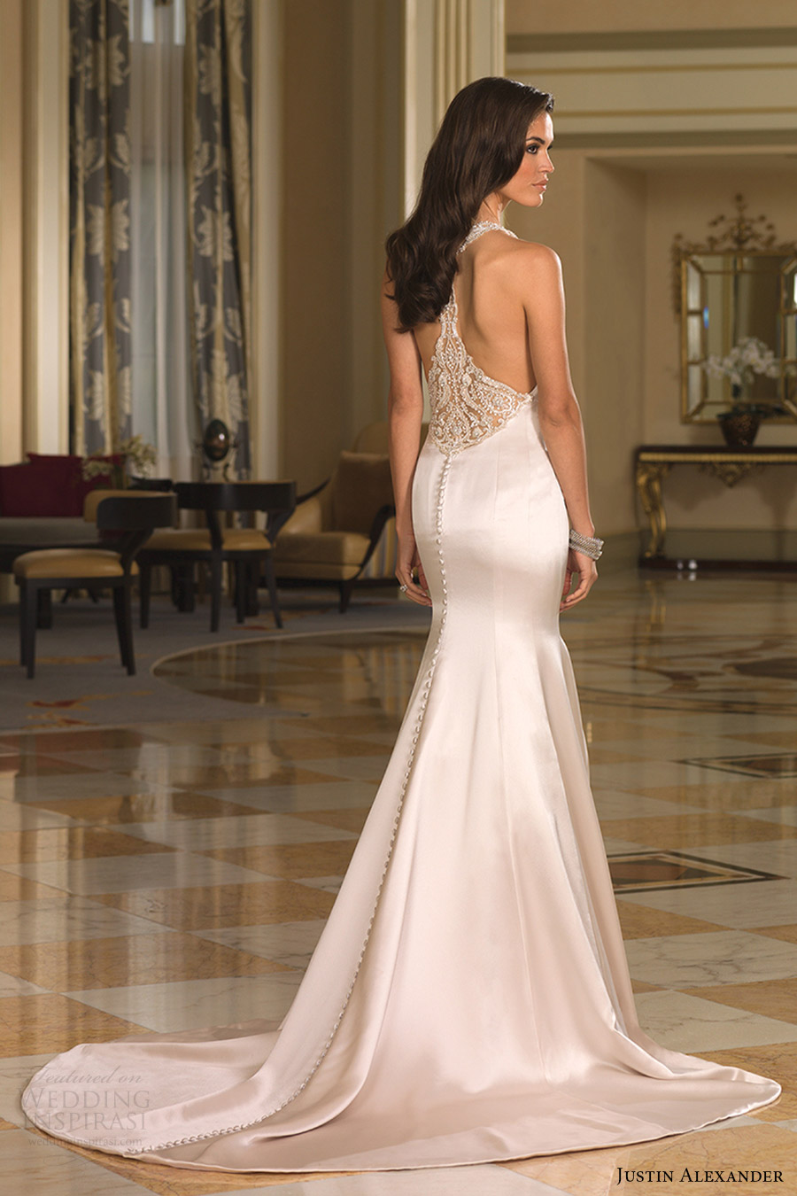 justin alexander bridal fall 2016 sleeveless jewel neckline fit flare wedding dress (8855) bv racerback train glam