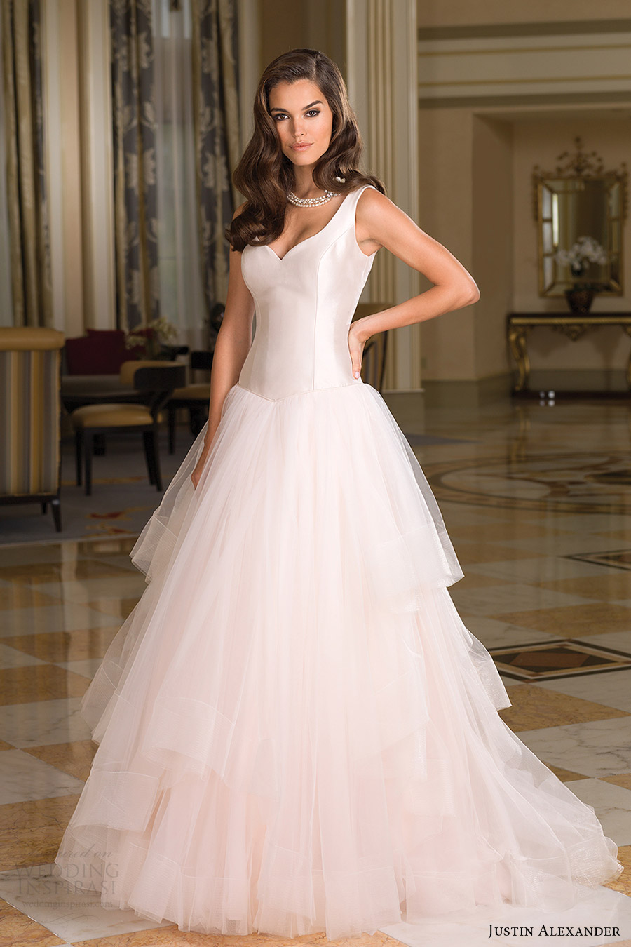 justin alexander bridal fall 2016 sleeveless straps vneck basque waist tulle ball gown wedding dress (8850) mv romantic