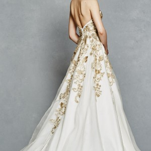 kelly faetanini bridal spring 2017 strapless sweetheart ball gown wedding dress (leona) sv gold color embroidery pockets