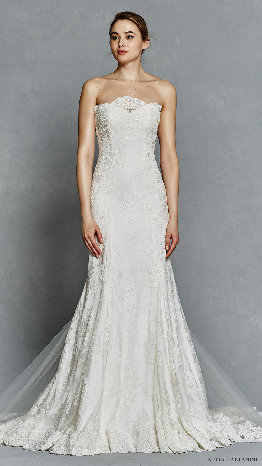 b4a3ceba2 kelly faetanini bridal spring 2017 strapless sweetheart chantilly lace fit  flare wedding dress (hazel)