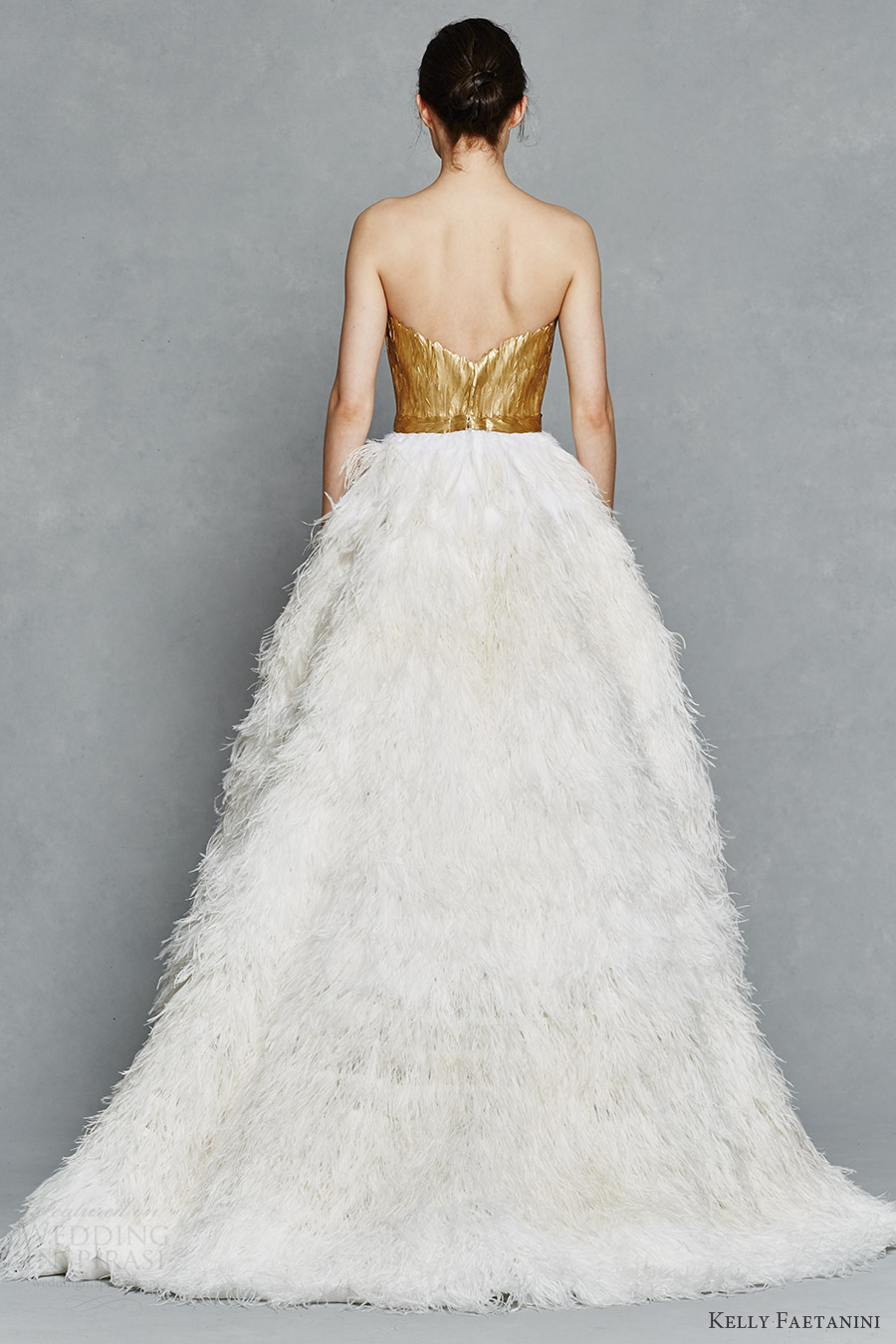 0eea40e76 kelly faetanini bridal spring 2017 strapless sweetheart gold painted  feather bodice ball gown wedding dress (
