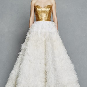kelly faetanini bridal spring 2017 strapless sweetheart gold painted feather bodice ball gown wedding dress (olga) mv ostrich skirt