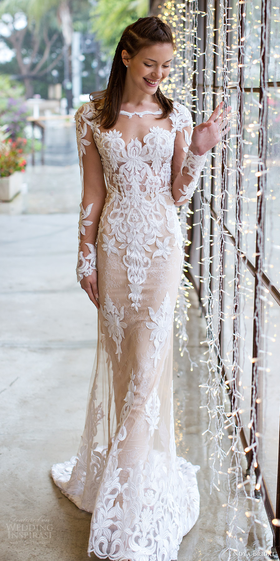 Noya Bridal 2016 Illusion Long Sleeve Scalloped Sweetheart Jewel Sheath Wedding Dress 1201