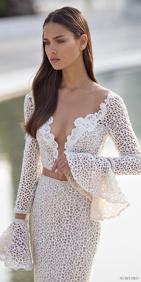 Nurit Hen 2016 Long Bell Sleeves Deep V Sheath Wedding Dress Pw6 Mv Edgy