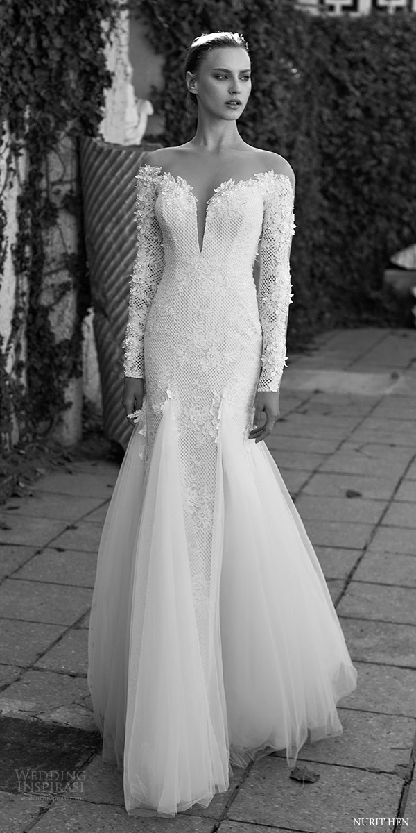 Royal Blue And White Wedding Dresses 60 Epic nurit hen long sleeves