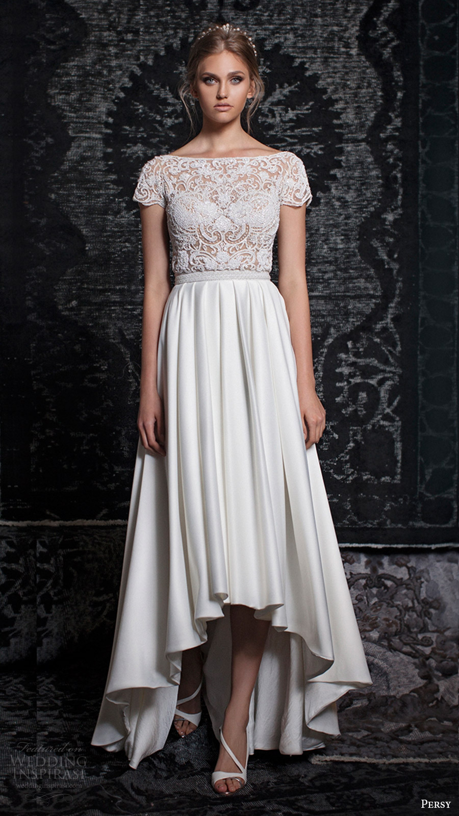 persy bridal fall 2016 cap sleeves bateau neck beaded top high low aline wedding dress (17) mv romantic elegant