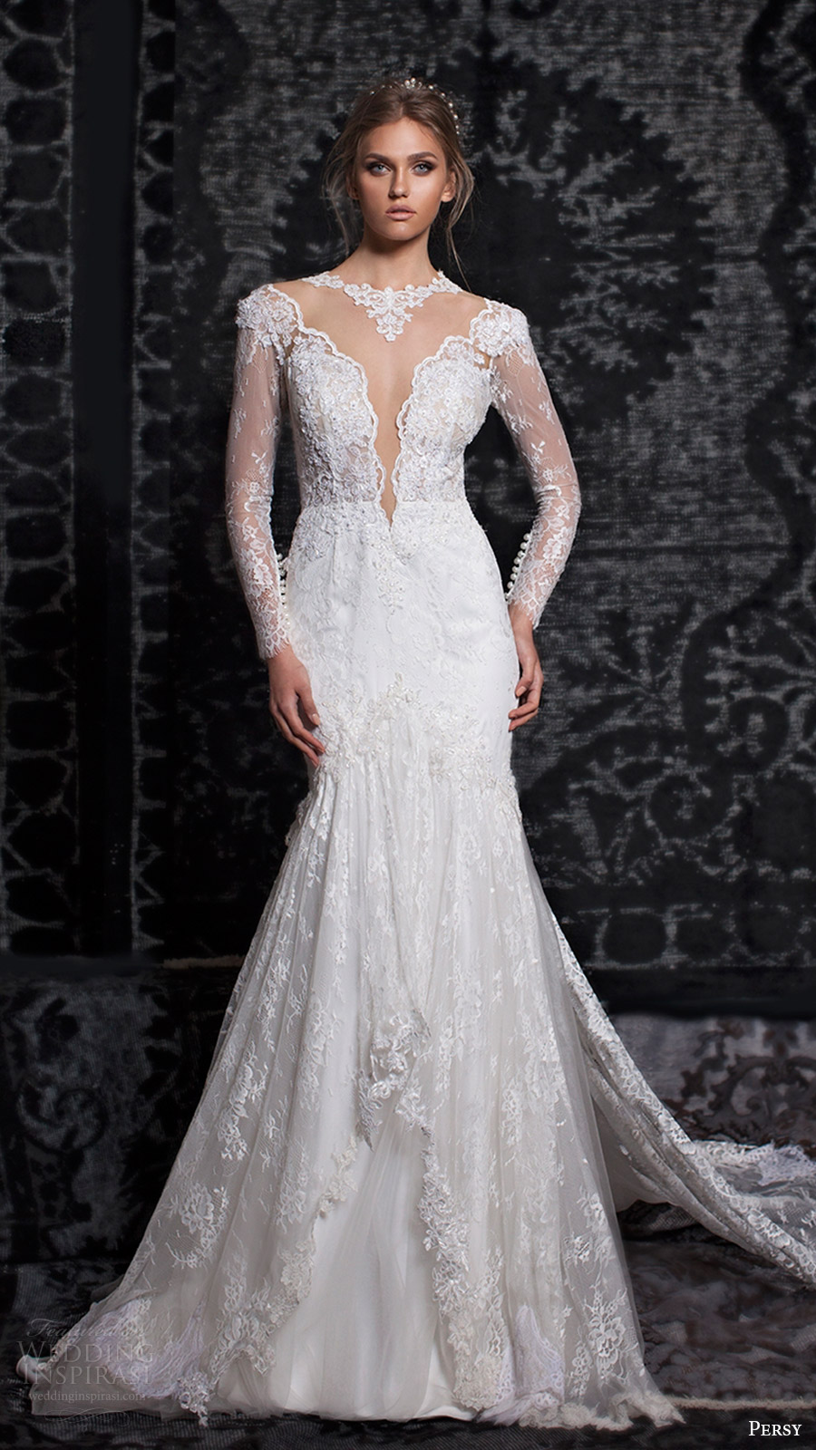 persy bridal fall 2016 long sleeves split sweetheart illusion jewel neck trumpet sheath wedding dress (04) mv elegant train